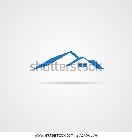 House Real Estate logo blue design - stock vector