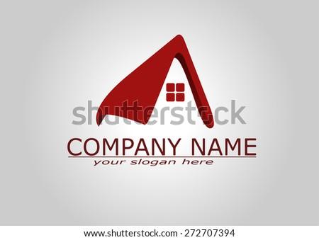 House Real Estate logo red design - stock vector