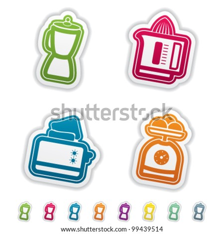 House related Objects from left to right: Blender, Juicer, Toaster, Kitchen scale. - stock vector