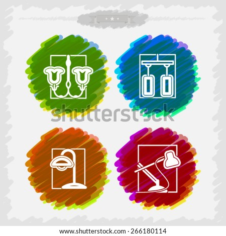 House related Objects from left to right - Classic Wall lamp, Modern Wall lamp, Classic desktop lamp, Modern desktop lamp.  - stock vector