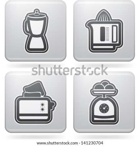House related Objects from left to right, top to bottom:  Blender, Juicer, Toaster, Kitchen scale. - stock vector