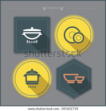 House related Objects from left to right - Wok, Plate & dessert plate, Pot, Bowl.  - stock vector