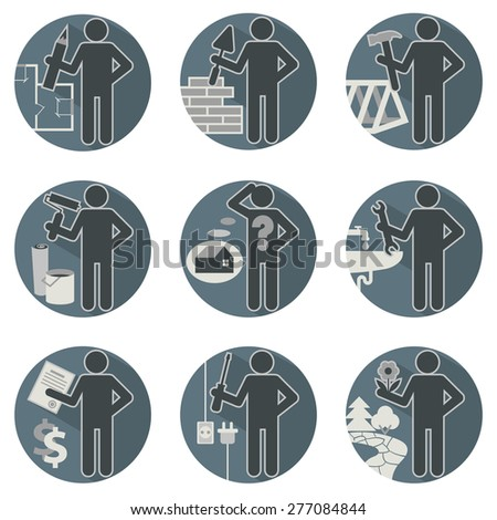 House remodel service worker set flat round symbolic icons in blue colors Workers repair team Architect  Insurers foreman plumber electrician mason carpenter builder finisher gardener landscaping  - stock vector