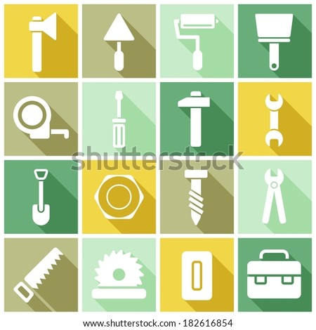 House remodel: set of flat colored simple web icons (tools, construction, building, production, manufacture), vector illustration - stock vector