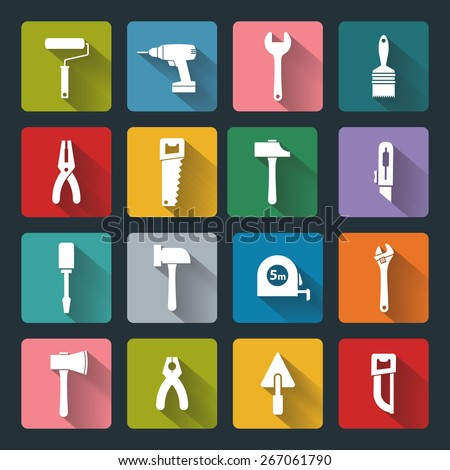 House remodel: set of vector design flat working tools icons, white on colored basis with long shadow - stock vector