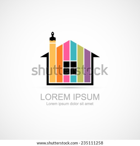 House renovation icon. Painting services icon. - stock vector