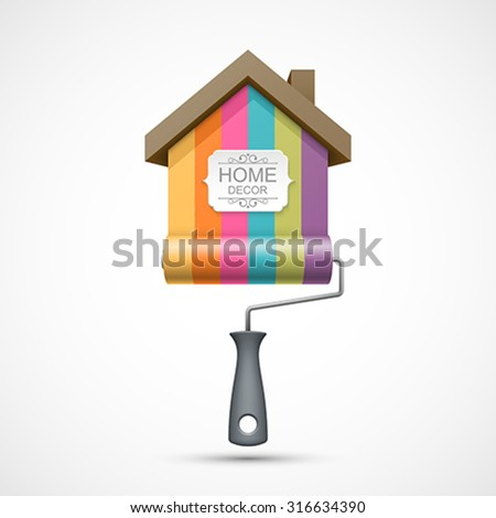 House renovation icon. Painting services icon. Colorful paint roller with house and banner for you text. Easy to change color. - stock vector