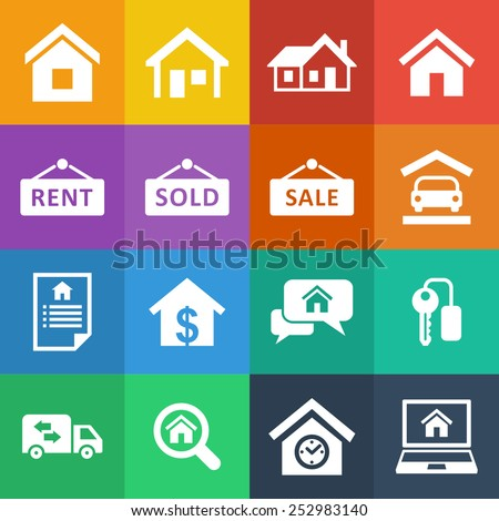House rent icons - stock vector