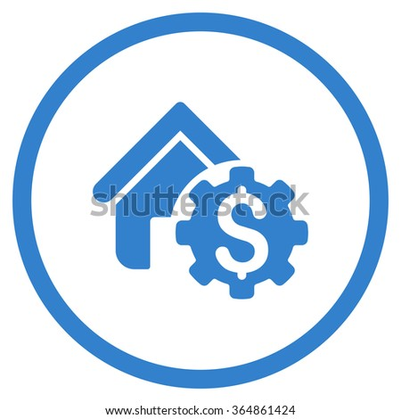 House Rent Options vector icon. Style is flat circled symbol, cobalt color, rounded angles, white background. - stock vector