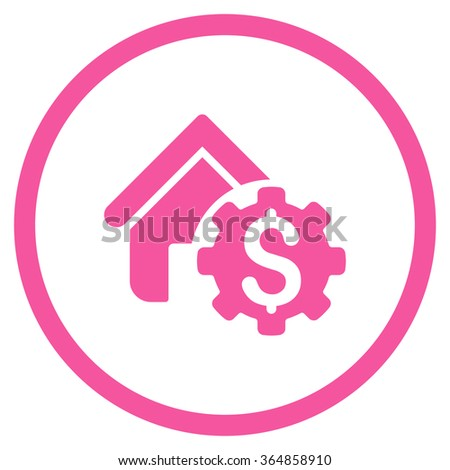 House Rent Options vector icon. Style is flat circled symbol, pink color, rounded angles, white background. - stock vector