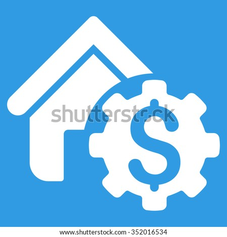 House Rent Options vector icon. Style is flat symbol, white color, rounded angles, blue background. - stock vector