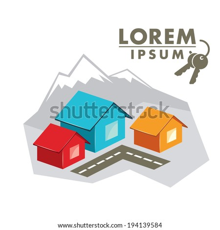 house rentals in the mountains - stock vector