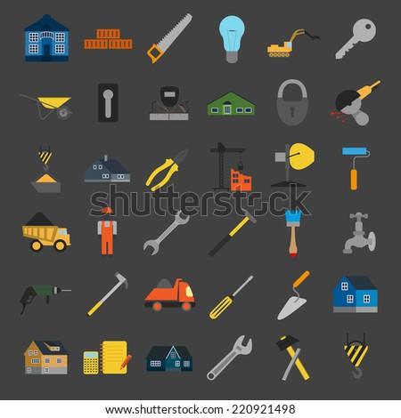 House repair icon set. Vector illustration - stock vector