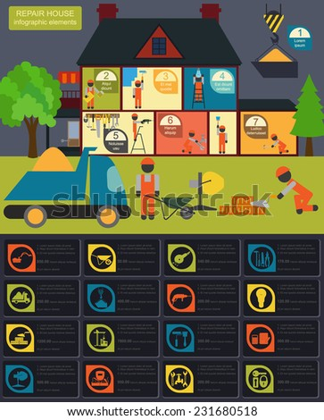 House repair infographic, set elements. Vector illustration - stock vector