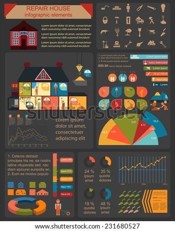 House repair infographic, set elements. Vector illustration