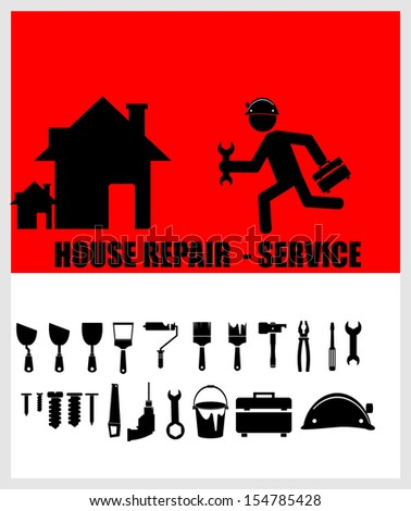 House repair service, Worker with tool - stock vector