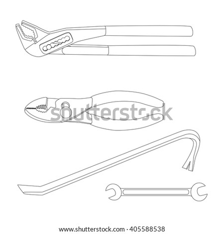 House repairs tools. Crowbar, groove joint pliers, open-ended spanner, slip joint pliers, house repairing. Tools for repairing (crowbar, groove joint pliers, open-ended spanner, slip joint pliers).   - stock vector