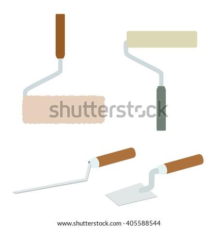 House repairs tools. Joint filler, paint roller, square trowel, wallpaper roller. Tools for repair. Tools for painting, wall papers, joint filling. House repairing. Colorful icons of repair tools. - stock vector