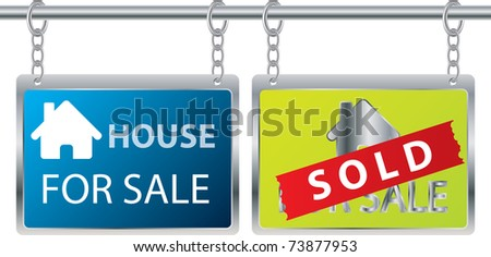 House sale advertisement hanging on chains - stock vector