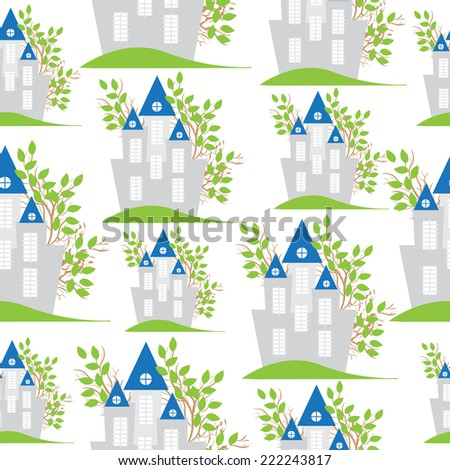 House seamless pattern vector