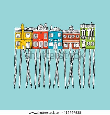 House set - colourful home icon collection. Island Burano. Venice - stock vector