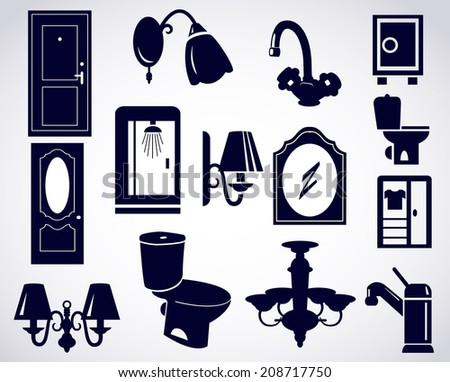 House set icon with furnitures and houseware home related icons and