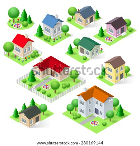 House set icons isometric 3d with flower trees and fence - stock vector
