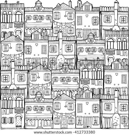 House set. Landscape. Island Burano. Venice. - stock vector