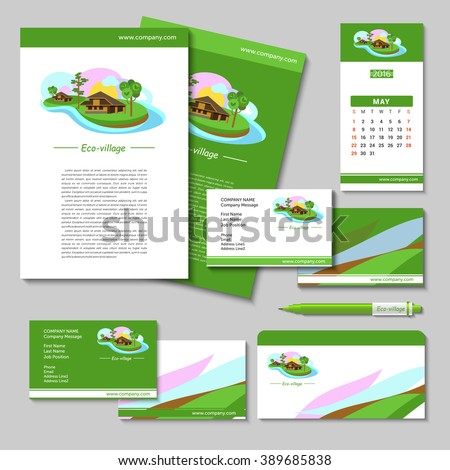 House. Set of vector posters, business cards, pens, flash drives, envelopes with the logo of eco-villages, ECO-house. Brand style. Suburban real estate.