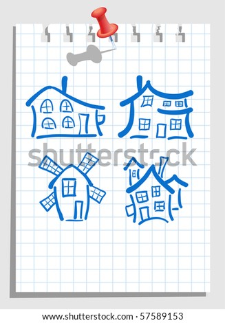 house set on notepad loaf - stock vector
