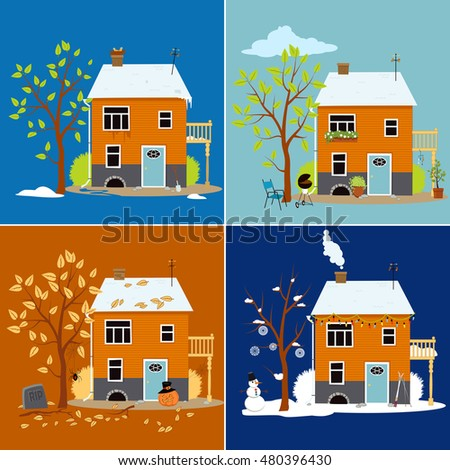 House shown in different seasons, EPS 8 vector illustration set