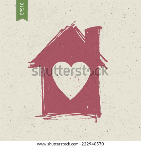 House sign with heart on paper texture. Vector, EPS10 - stock vector