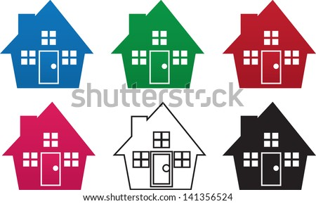 House silhouettes in various colors  - stock vector