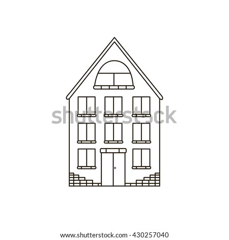 House Simple Buildingline Drawing Icon Modern Stock Vector