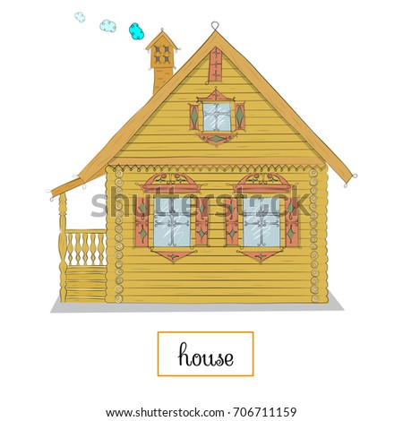 House. Simple Cute Style With Curved Contour Curls. Hand Drawing. Vector  Illustration