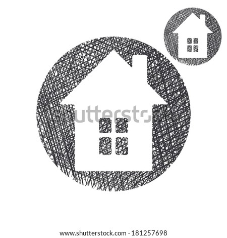 House simple single color icon isolated on white background with sketch lined hand drawn texture. - stock vector