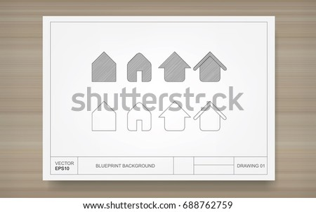 House sketch icon on blueprint paper stock vector hd royalty free house sketch icon on blueprint paper with wood background vector construction graphic idea malvernweather Image collections