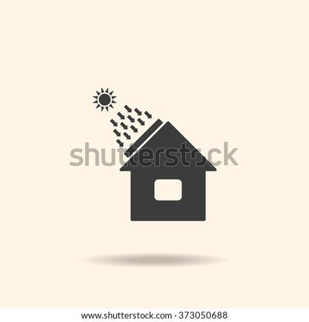 house - solar energy, solar heater. icon. vector design - stock vector