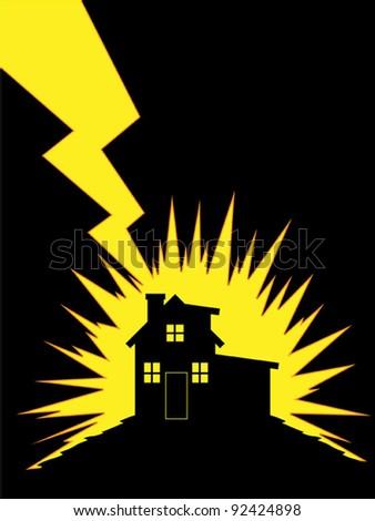 House Struck by Lightning - stock vector