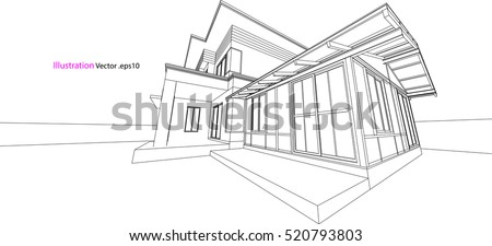 house structure architecture abstract drawing 3d illustration vector - House Drawing 3d