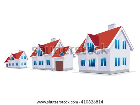 House. Sweet home. A set of three houses, with and without a garage.  Vector icon.
