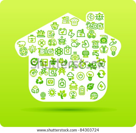 House symbol made from small eco,bio,natural icons