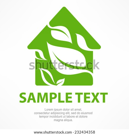 House symbol with green leaf, vector illustration - stock vector