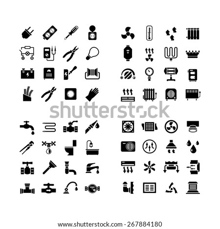 House system icons. Set icons of electricity, heating, plumbing, ventilation isolated on white. Vector illustration - stock vector