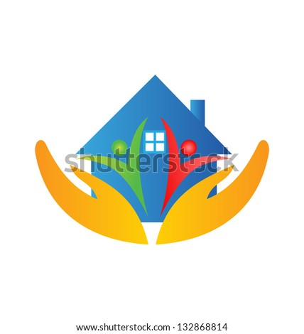 House , team and hands protections - stock vector