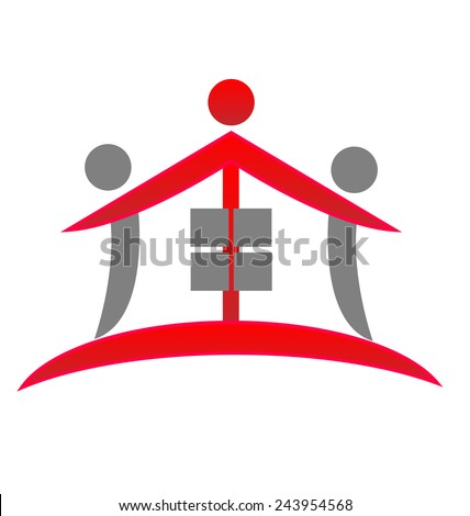House teamwork real estate identity business card icon vector symbol - stock vector