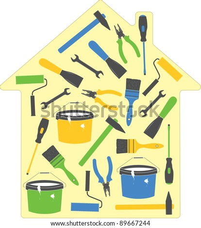 House tools (icons), vector illustration - stock vector