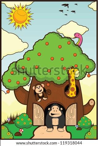 house tree animal - stock vector