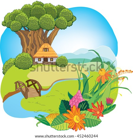 house under a large tree on the fabulous hill, river, bridge and flowers, vector illustration
