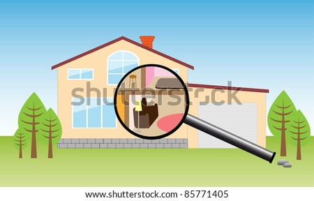 House under magnifying - stock vector